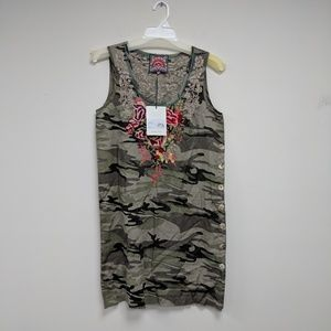 Johnny Was Adeline Side Button Camo Tunic Dress